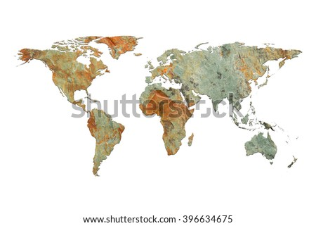 Global map rock texture isolated on white background, with clipping path. (Elements of this image furnished by NASA) - stock photo