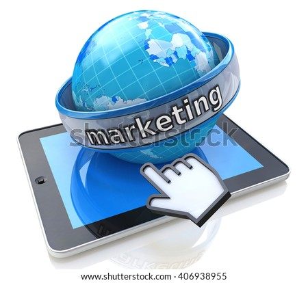 Global Marketing with tablet computer.3D Illustration - stock photo