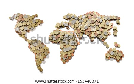 Global money map. World map made of money coins isolated on white background - stock photo