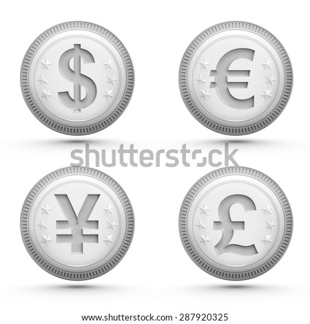 global money silver coins isolated on white business theme rendering illustration collection - stock photo