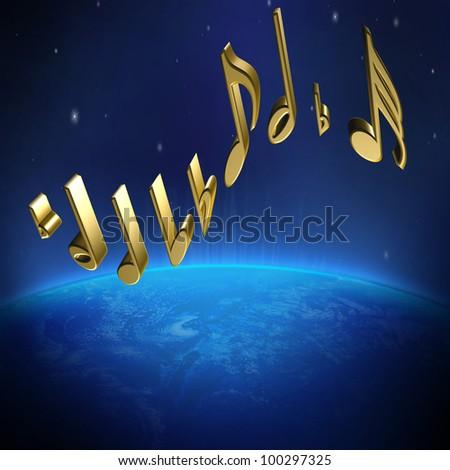 global music world - stock photo