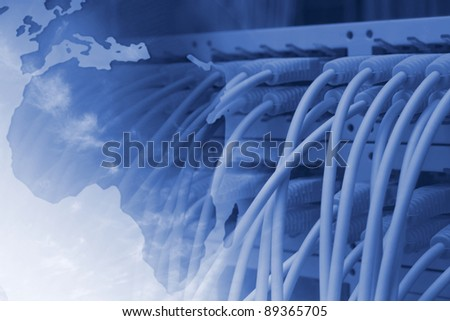 Global Network background - stock photo