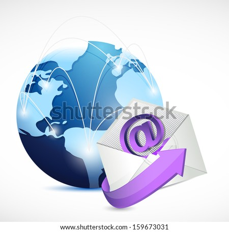 global network communication. contact us email illustration design over white - stock photo