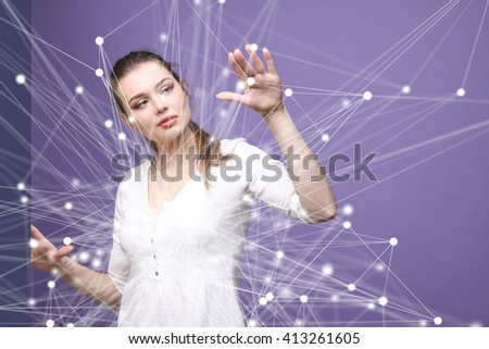 Global network concept, woman working with futuristic computer interface.