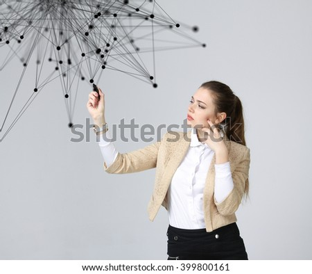 Global network connection concept, woman working with futuristic interface. - stock photo
