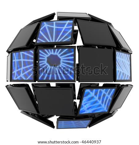 Global network. Hi-res digitally generated image. - stock photo