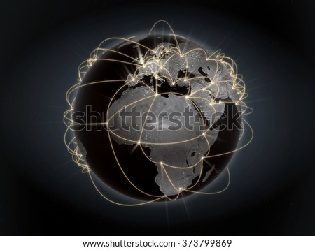 Global network, internet concept. View of Europe and Africa. Orange version. - stock photo