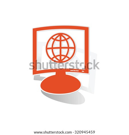 Global network monitor sticker, orange monitor with image inside, on white background - stock photo