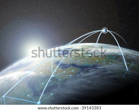 Global network on a surface of a planet - stock photo