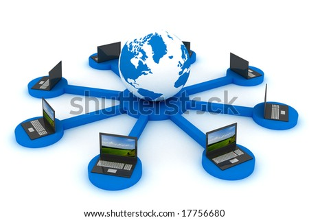 Global network the Internet. 3D image. - stock photo