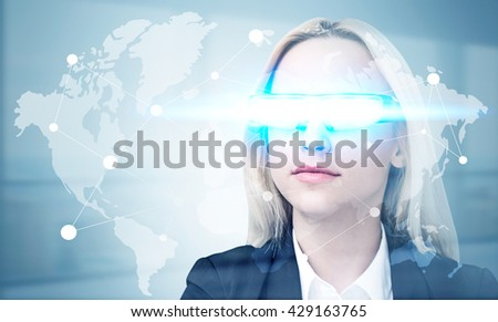 Global networking concept with network on map and businesswoman wearing illuminated smart glass - stock photo