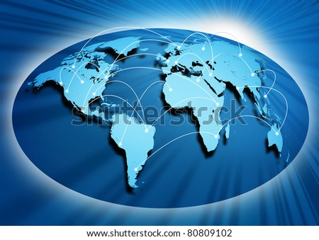 Global networking symbol of international comunication featuring a world map concept with connecting technology communities using computers and other digital devices.. - stock photo