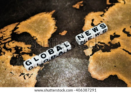 GLOBAL NEWS on grunge world map