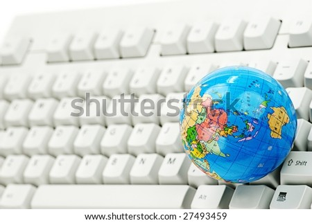 Global on Keyboard,Concept. - stock photo