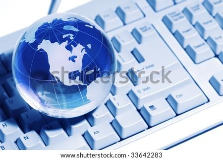 Global on Keyboard,Concept. - stock photo