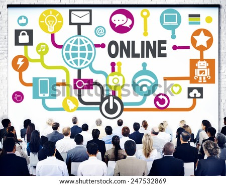 Global Online Communication Social Networking Technology Concept - stock photo