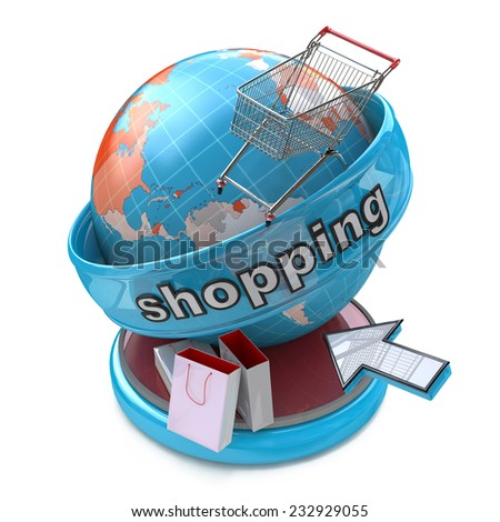 Global online shopping  - stock photo