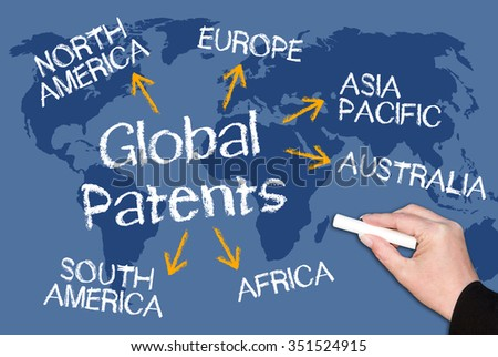Global Patents Concept on blue world map background - stock photo