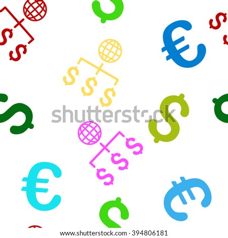 Global Payments glyph repeatable pattern with dollar and euro currency symbols. Style is flat colored icons on a white background. - stock photo
