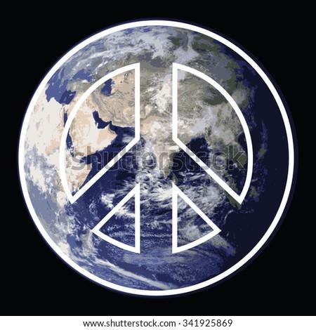 Global Peace Symbol with satellite photo of earth. Public Domain Photo courtesy of NASA. - stock photo