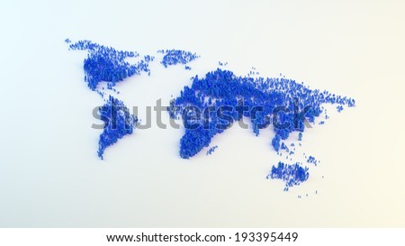Global population - tiny people showing the population density by size - stock photo