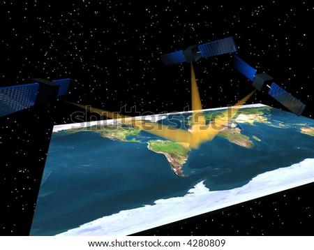 Global positioning satellites over earth map courtesy nasa - stock photo