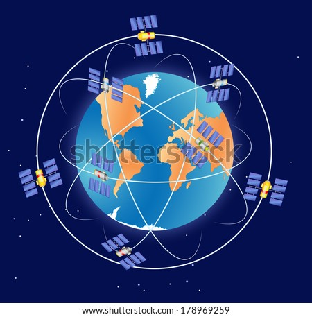 Global Positioning System. gps or GLONASS - stock photo