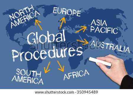 Global Procedures chalkboard with female hand and world map in the background - stock photo