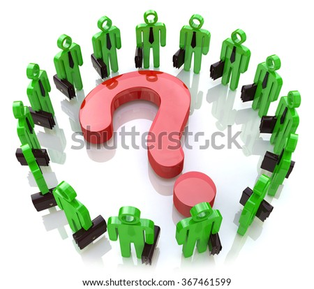Global question. Teamwork. Solving problems together in the design of information related to the issues and business - stock photo
