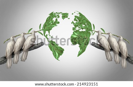 Global relations concept as a group of white peace doves holding olive branches coming together from the east and west to form a world map as a symbol for peace talks between nations. - stock photo