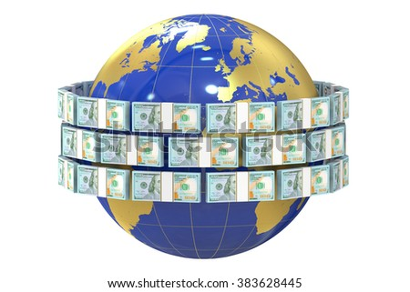 Global remittance concept, dollars around the world - stock photo
