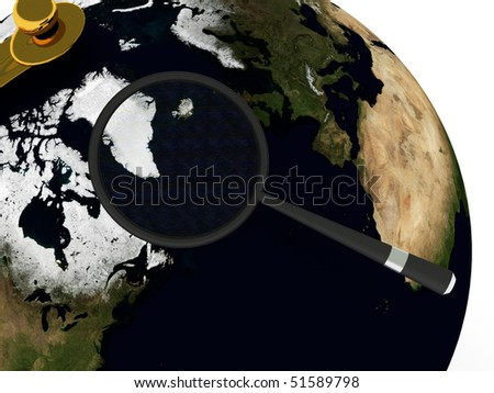Global search. Globe and magnifying isolated on white background. High quality 3d render. - stock photo