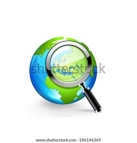 Global search glossy icon. Raster copy. - stock photo