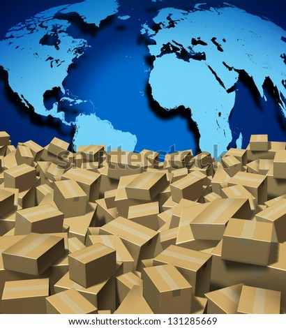 Global Shipping and cargo concept as a worldwide trade and delivery transport courier service with a world map from internet sales with a group of shipped cardboard boxes. - stock photo