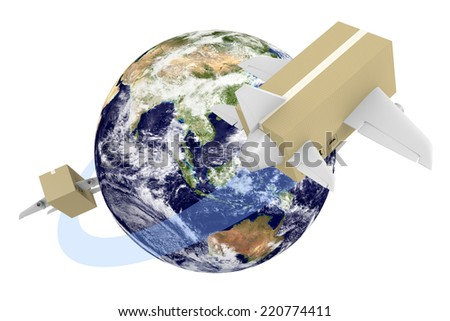 Global shipping concept of boxes flying around the world, parts of this image furnished by NASA - stock photo