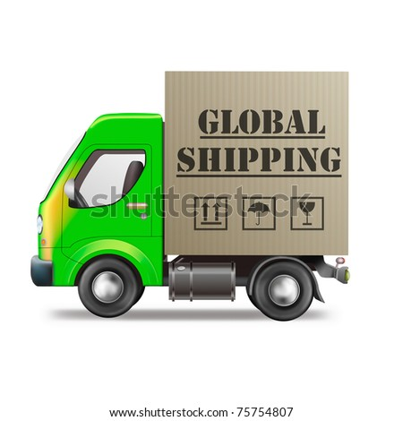 global shipping package delivery international trade and worldwide sending of internet order