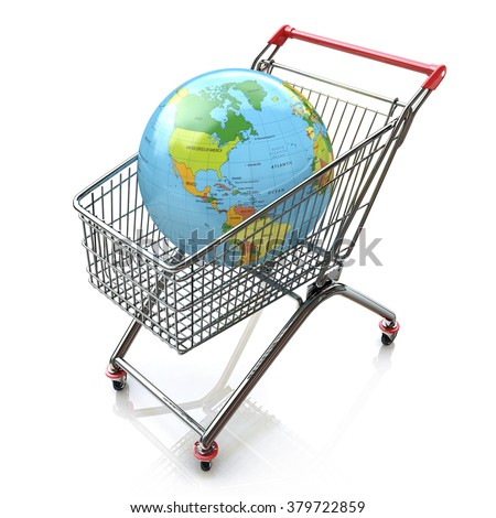 Global shopping concept with shopping cart containing globe in the design of the information associated with the global trade