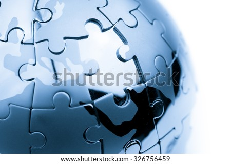 Global strategy  & solution business concept, jigsaw puzzle - stock photo