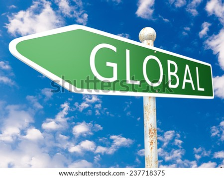 Global - street sign illustration in front of blue sky with clouds. - stock photo