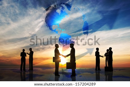 Global team business people silhouettes rendered with computer graphic. - stock photo