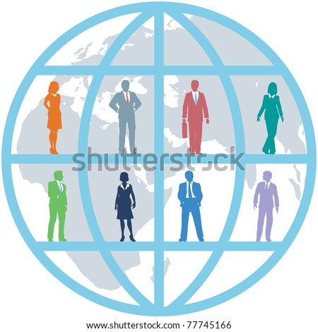 Global team of world business people as international human resources on map background - stock photo