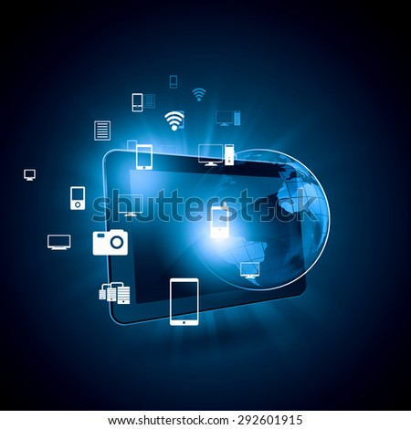 Global technologies concept with tablet pc and media icons