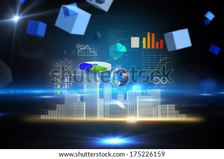 Global technology background against boxes on technical background, elements of this image furnished by NASA