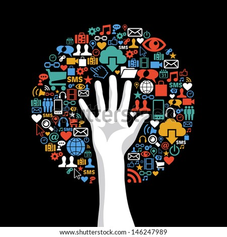 Global technology communication concept hand tree icons set. - stock photo