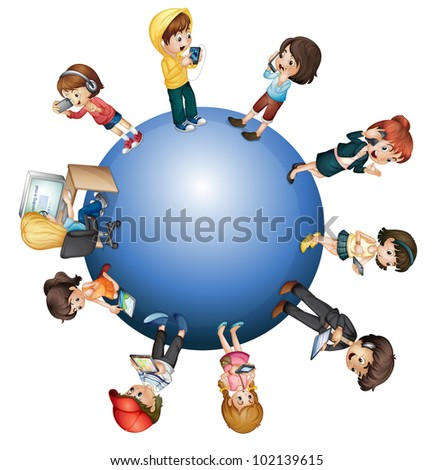 Global technology concept on white - EPS VECTOR format also available in my portfolio. - stock photo