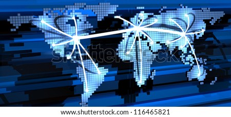 Global telecommunication (done in 3d) - stock photo