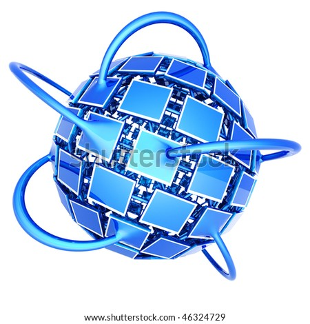 Global television network. Hi-res digitally generated image. - stock photo