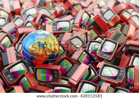 Global television, telecommunication equipment and mass media broadcasting concept, Earth globe on heap of red retro tv set receivers with no signal on screens, 3d illustration (Elements by NASA) - stock photo