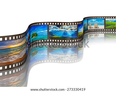 Global tourism travel concept - photo film with travel images with reflection on white background - stock photo