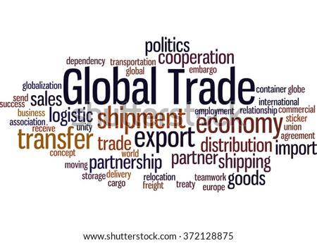 Global Trade, word cloud concept on white background.